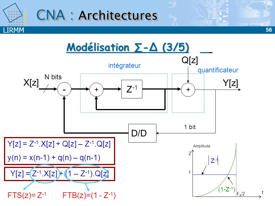 Y[z] = Z-1.X[z] + (1 – Z-1).Q[z]